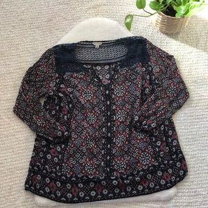 Lucky Brand BOHO Crochet top Blouse- Plus size